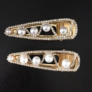 2 Pave Crystals Gold & Pearls Dressy Hair Clips